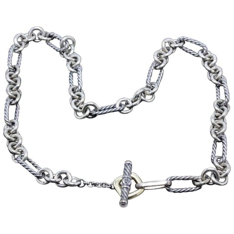 David Yurman Silver And Gold 6 Strand Box Chain Necklace