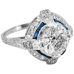 Platinum Art Deco 1.65 Carat Diamond and Sapphire Antique Engagement Ring