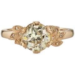 Floral Old European Cut Diamond Engagement Ring