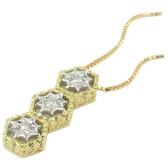 Diamond and 18 Karat Gold Florentine Engraved Necklace, Made in Italy