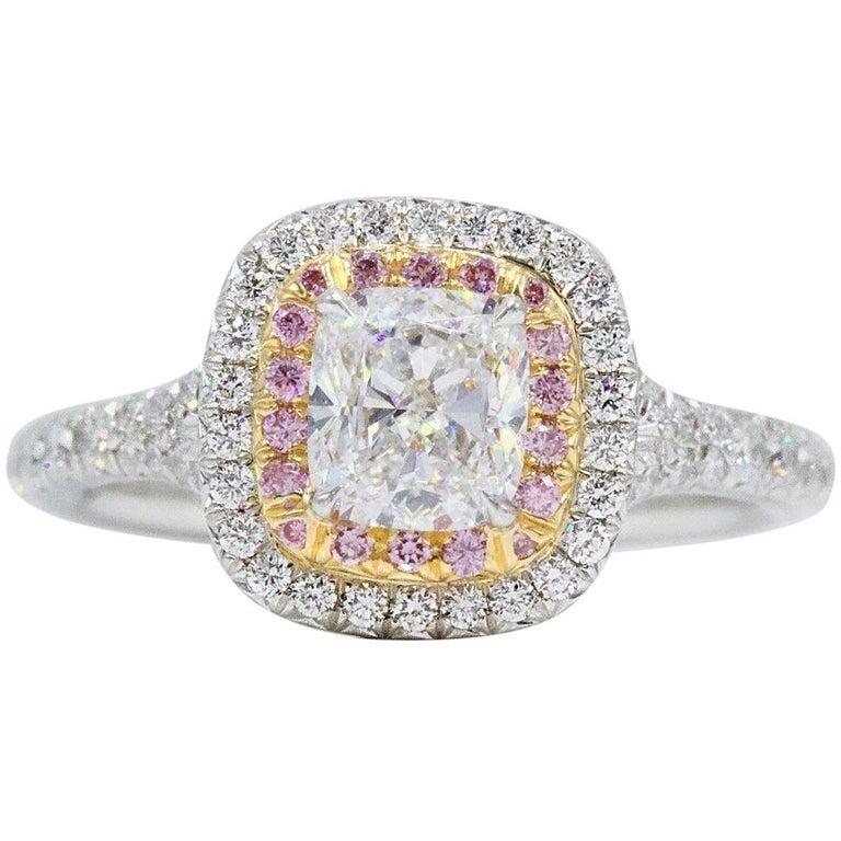 Tiffany & Co Soleste Diamond Engagement Ring Cushion Cut & Fancy Pink Diamonds