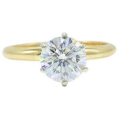 Leo Diamond Engagement Ring Round 1.57 Carat I VS2 in 14 Karat Gold IGI Report