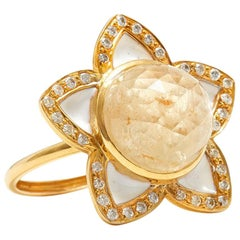 16 Carat Yellow Sapphire Champagne Diamond Enamel Cocktail Ring
