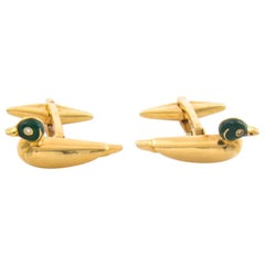 18 Karat Duck Cufflinks with Enamel and Diamond Eyes with Rotatable Whale Backs