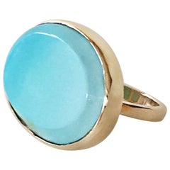 Blue Turquoise 14 Karat Yellow Gold Ring