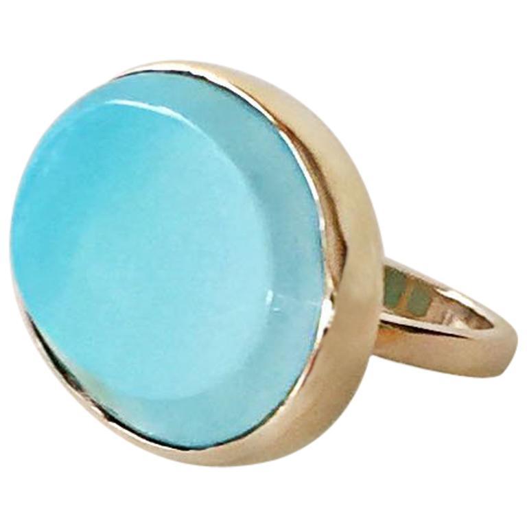 Blue Turquoise 14 Karat Yellow Gold Ring