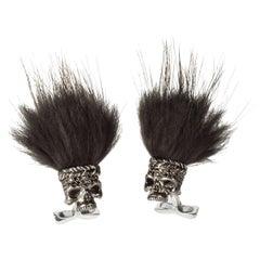 Deakin & Francis Black Spinel Savage Skull Cufflinks with Black Hair