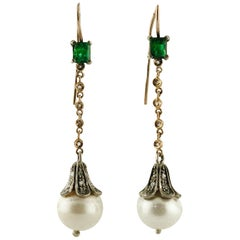 Diamonds Pearls Emeralds Rose Gold and Silver Earrings