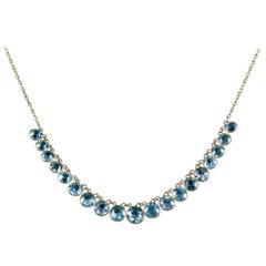 Antique Victorian Blue Zircon Necklace 9 Carat, circa 1900