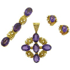 Amethyst Diamond Yellow Gold Earrings Bracelet Pendant Set