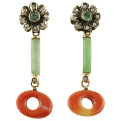 Diamonds Corals Emeralds Jade Rose Gold and Silver Earrings