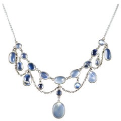 Antique Victorian Moonstone Necklace Garland Silver, circa 1880