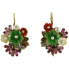 Diamonds Rubies Mother-of-Pearl Stones Pearls Rose Gold and Silver Earrings