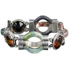 Antique Victorian Agate Bracelet Scottish Silver, circa 1860