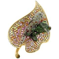 18 Karat Yellow Gold Diamond Sapphire Tsavorite Frog on the Leaf Brooch