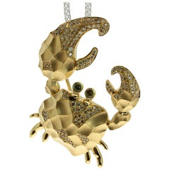 Diamond 18 Karat Yellow Gold Crab Brooch