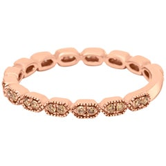 Champagne Diamond Rose Gold Stackable Gold Band Ring