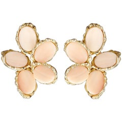 Chaumet Earrings Angel Skine Coral, 18 Karat Yellow Gold and 18 Karat White Gold