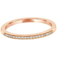 White Diamond Rose Gold Band Ring