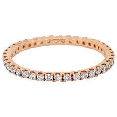 White Round Diamonds Rose Gold Eternity Band Ring