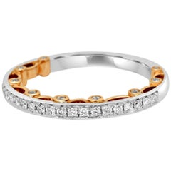 White Diamond Two-Color Gold Band Ring