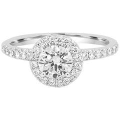 GIA Certified Round Diamond 0.70 Carat Halo Gold Platinum Engagement Bridal Ring