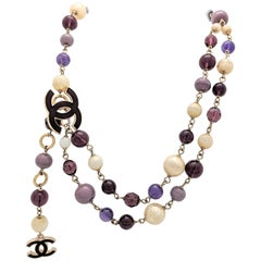 Chanel Purple Bead Pearl CC Logo Necklace