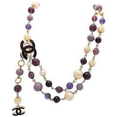 Chanel Purple Bead Pearl CC Logo Necklace