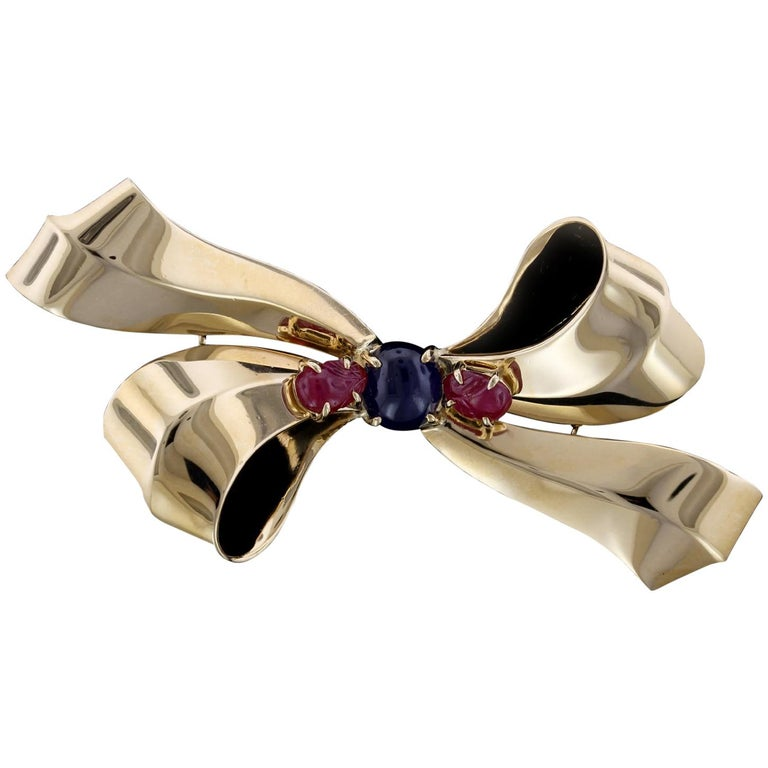 Retro 14 Karat Yellow Gold Sapphire and Ruby Bow Brooch