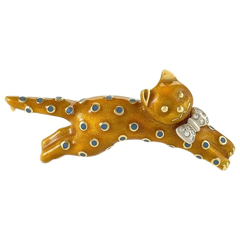 Asprey London Diamond Gold and Enamel Cat Brooch