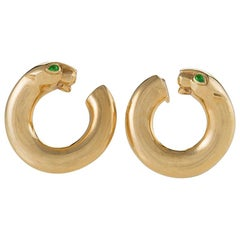 Cartier Paris 1990s Emerald and Gold Panther Hoop Earrings