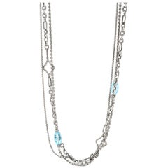 100% Authentic David Yurman Sterling Silver Natural Diamond and Topaz Necklace
