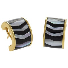 Tiffany & Co. Mother-of-Pearl Black Jade and Gold Hoop Earrings