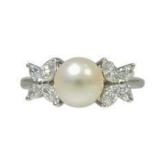 Tiffany & Co. Victoria Pearl and Diamond Platinum Ring