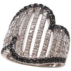 Ladies 18 Karat White Gold Black and White Diamonds Ring