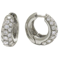 18 Karat White Gold and Pavè Diamond Garavelli Huggie Earrings