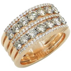 18 Karat Rose Gold Garavelli Brown and White Diamonds Ring