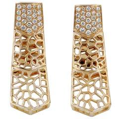18 Karat Rose Gold Diamonds Garavelli Long Earrings