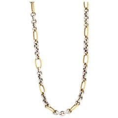 100% Authentic David Yurman Solid 18 Karat Yellow Gold and Sterling Silver Chain