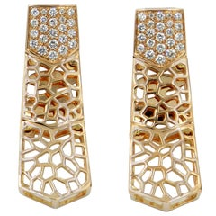 18 Karat Yellow Gold Diamonds Garavelli Long Earrings