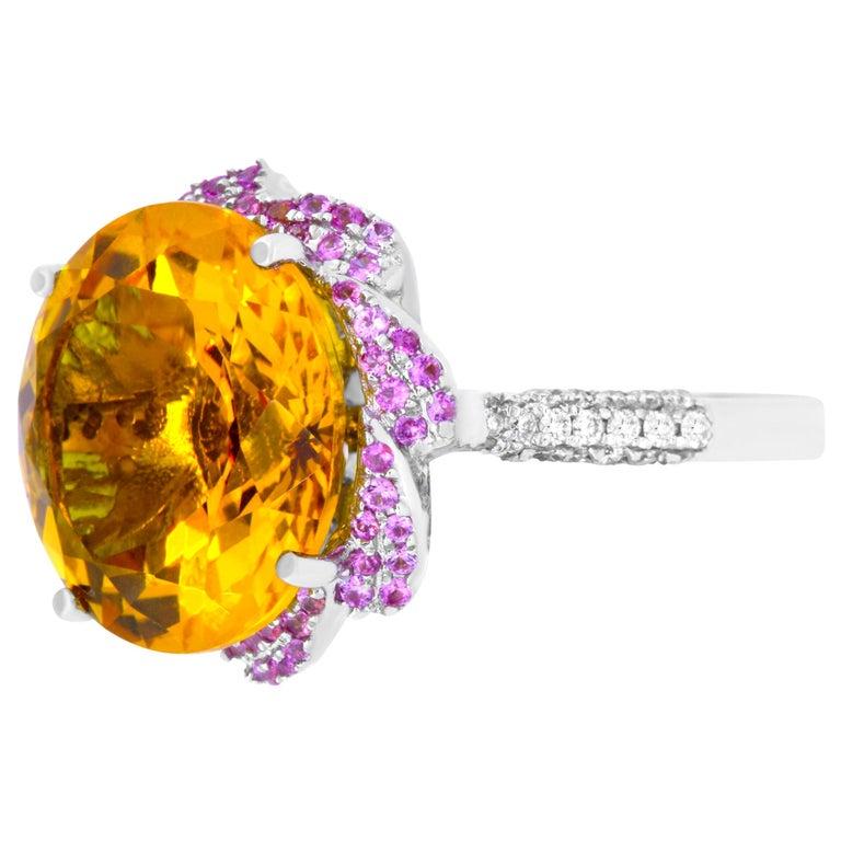 11.91 Carat Round Citrine, 0.35 Carat Pink Sapphire and White Diamond Ring