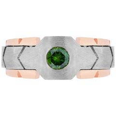 0.48 Carat Green Diamond Men's Ring