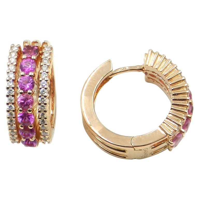 18 Karat Rose Gold Pink Sapphires and Diamonds Garavelli Huggie Earrings