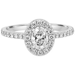 GIA Certified Oval 0.51 Carat Diamond Halo Gold Engagement Bridal Ring