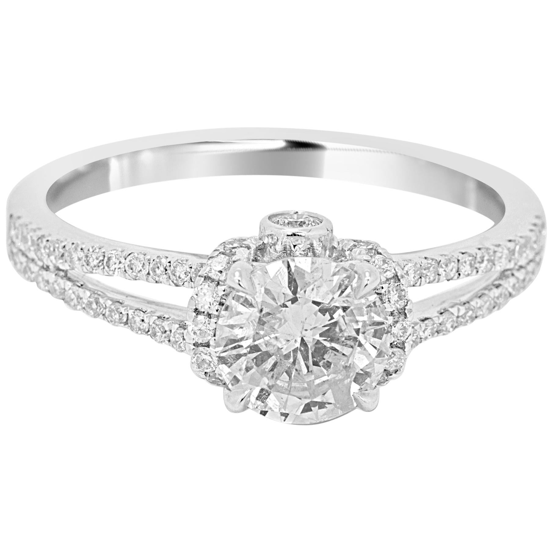 White Diamond Round 1.32 Carat Weight Total 14K White Gold Engagement Ring