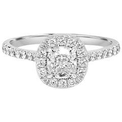 GIA Certified Cushion Diamond 0.73 Carat Halo Gold Bridal Engagement Ring