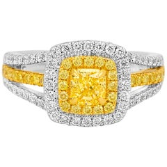Fancy Yellow Diamond Radiant Double Halo Two Color Gold Three-Row Shank Ring