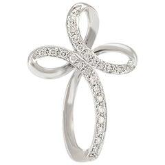 Solid 14 Karat White Gold Natural Diamond Cross Pendant