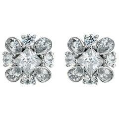 Flowering Princess Cut 3.23 Carat Diamond Earrings