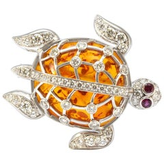 Solid 18K White Gold Amber, Genuine Diamond & Natural Ruby Turtle Pendant/Pin